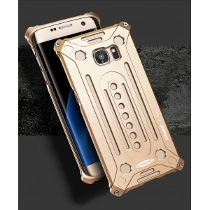 Цельнометаллический противоударный чехол из авиационного алюминия на винтах с мягкой внутренней защитной прослойкой для гаджета с прямым доступом к разъемам для Samsung Galaxy S7 Edge  Бежевый