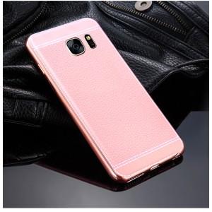 Силиконовый матовый непрозрачный чехол с текстурным покрытием Кожа для Samsung Galaxy S7 Edge Розовый