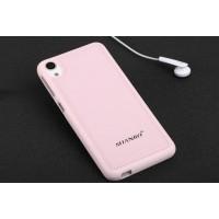 Силиконовый матовый непрозрачный чехол с текстурным покрытием Кожа для HTC Desire 626/628 Розовый