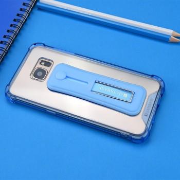 Силиконовый матовый полупрозрачный чехол с встроенной ножкой-подставкой для Samsung Galaxy S7 Edge