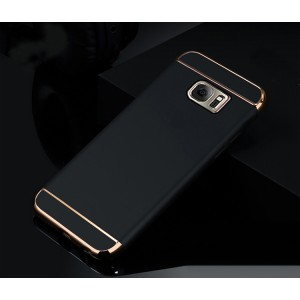 Пластиковый непрозрачный матовый чехол сборного типа с текстурным покрытием Металл для Samsung Galaxy S7 Edge Черный