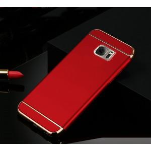 Пластиковый непрозрачный матовый чехол сборного типа с текстурным покрытием Металл для Samsung Galaxy S7 Edge Красный