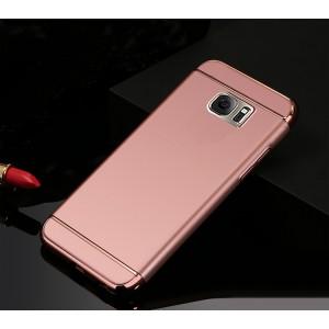 Пластиковый непрозрачный матовый чехол сборного типа с текстурным покрытием Металл для Samsung Galaxy S7 Edge Розовый