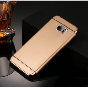 Пластиковый непрозрачный матовый чехол сборного типа с текстурным покрытием Металл для Samsung Galaxy S7 Edge Бежевый