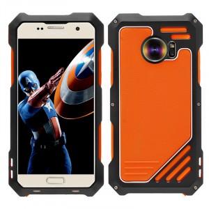Эксклюзивный многомодульный ультрапротекторный пылевлагозащищенный ударостойкий нескользящий чехол алюминиево-цинковый сплав/силиконовый полимер с широкоугольной линзой и линзой на Samsung Galaxy S7 Edge Оранжевый