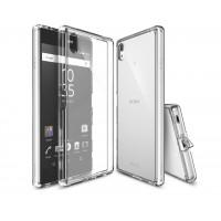 Силиконовый матовый полупрозрачный чехол с улучшенной защитой элементов корпуса (заглушки) для Sony Xperia Z5 Premium  Белый