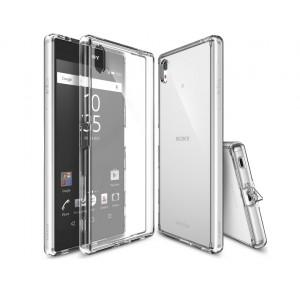 Силиконовый матовый полупрозрачный чехол с поликарбонатной вставкой и с улучшенной защитой элементов корпуса (заглушки) для Sony Xperia Z5 Premium Белый