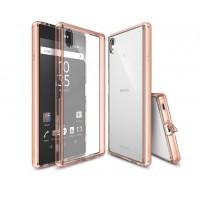 Силиконовый матовый полупрозрачный чехол с поликарбонатной вставкой и с улучшенной защитой элементов корпуса (заглушки) для Sony Xperia Z5 Premium Розовый