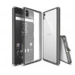 Силиконовый матовый полупрозрачный чехол с поликарбонатной вставкой и с улучшенной защитой элементов корпуса (заглушки) для Sony Xperia Z5 Premium
