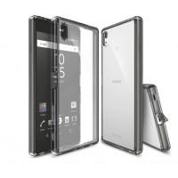 Силиконовый матовый полупрозрачный чехол с поликарбонатной вставкой и с улучшенной защитой элементов корпуса (заглушки) для Sony Xperia Z5 Premium Серый