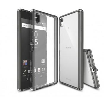 Силиконовый матовый полупрозрачный чехол с улучшенной защитой элементов корпуса (заглушки) для Sony Xperia Z5 Premium