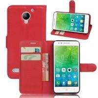 Чехол портмоне подставка на силиконовой основе на магнитной защелке для Lenovo Vibe C2  Красный