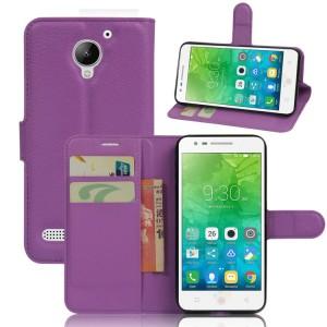 Чехол портмоне подставка на силиконовой основе на магнитной защелке для Lenovo Vibe C2  Фиолетовый