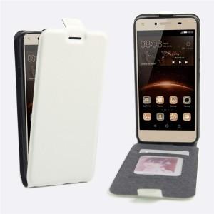 Чехол вертикальная книжка на силиконовой основе с отсеком для карт на магнитной защелке для Huawei Honor 5A/Y5 II Белый