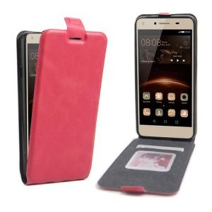 Чехол вертикальная книжка на силиконовой основе с отсеком для карт на магнитной защелке для Huawei Honor 5A/Y5 II Пурпурный