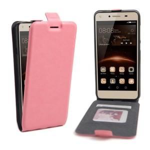 Чехол вертикальная книжка на силиконовой основе с отсеком для карт на магнитной защелке для Huawei Honor 5A/Y5 II Розовый