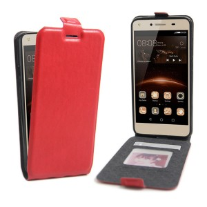 Чехол вертикальная книжка на силиконовой основе с отсеком для карт на магнитной защелке для Huawei Honor 5A/Y5 II Красный