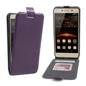 Чехол вертикальная книжка на силиконовой основе с отсеком для карт на магнитной защелке для Huawei Honor 5A/Y5 II Фиолетовый