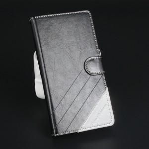 Чехол горизонтальная книжка подставка текстура Линии на силиконовой основе с отсеком для карт на магнитной защелке для Lenovo A536 Ideaphone Черный