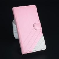 Чехол горизонтальная книжка подставка текстура Линии на силиконовой основе с отсеком для карт на магнитной защелке для Lenovo A536 Ideaphone Розовый