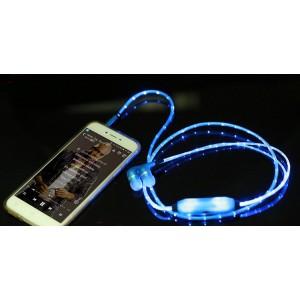 Наушники вкладыши с LED-подсветкой 1м Зеленый
