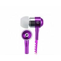 Наушники вкладыши серия Zipper с функцией гарнитуры и замком 1.2м 20Гц-20КГц Фиолетовый