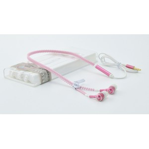 Флуоресцентные наушники вкладыши серия Zipper с функцией гарнитуры и замком 1.2м 20Гц-20КГц Розовый