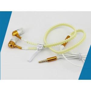 Флуоресцентные наушники вкладыши серия Zipper с функцией гарнитуры и замком 1.2м 20Гц-20КГц Желтый