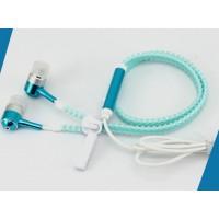 Флуоресцентные наушники вкладыши серия Zipper с функцией гарнитуры и замком 1.2м 20Гц-20КГц Голубой