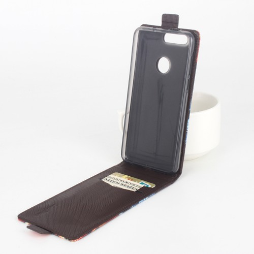 Чехол вертикальная книжка на силиконовой основе с отсеком для карт и полноповерхностным принтом на магнитной защелке для Huawei Honor 8