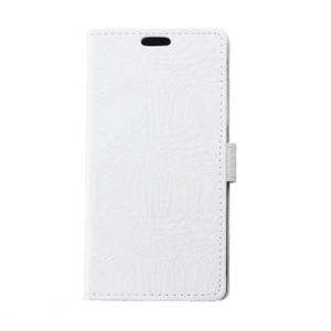 Чехол портмоне подставка текстура Крокодил на силиконовой основе на магнитной защелке для Huawei Honor 8 Белый