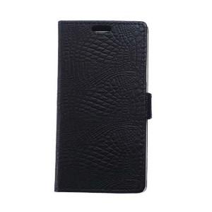Чехол портмоне подставка текстура Крокодил на силиконовой основе на магнитной защелке для Huawei Honor 8 Черный