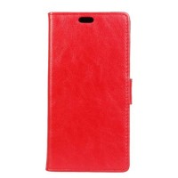 Вощеный чехол портмоне подставка на силиконовой основе на магнитной защелке для Huawei Honor 8  Красный