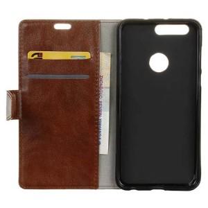Вощеный чехол портмоне подставка на силиконовой основе на магнитной защелке для Huawei Honor 8  Черный
