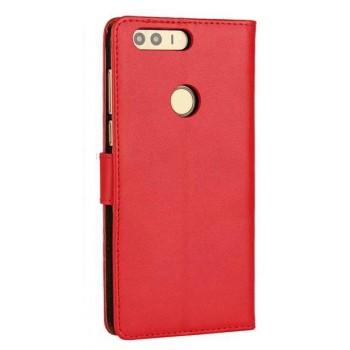 Винтажный чехол портмоне на пластиковой основе на магнитной защелке для Huawei Honor 8  Красный