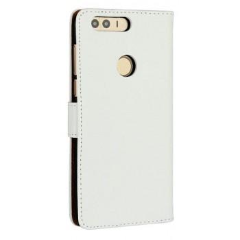 Винтажный чехол портмоне на пластиковой основе на магнитной защелке для Huawei Honor 8  Белый