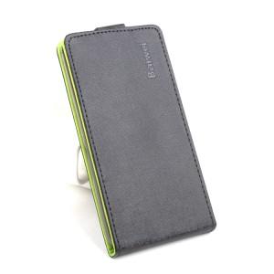 Текстурный чехол вертикальная книжка на силиконовой основе на магнитной защелке для Huawei Honor 8  Черный