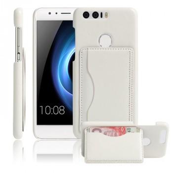 Чехол накладка текстурная отделка Кожа с отсеком для карт и функцией подставки для Huawei Honor 8  Белый