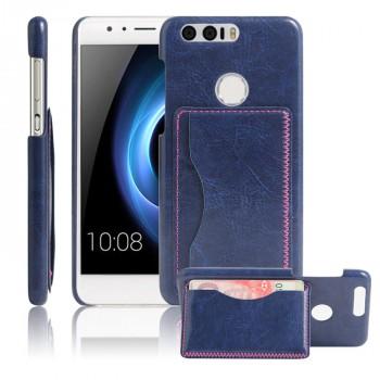 Чехол накладка текстурная отделка Кожа с отсеком для карт и функцией подставки для Huawei Honor 8  Синий