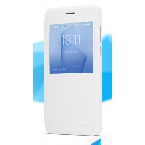 Чехол горизонтальная книжка на пластиковой нескользящей премиум основе с окном вызова для Huawei Honor 8 Белый