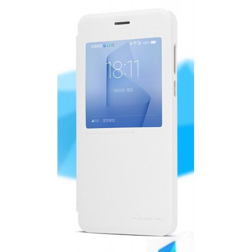 Чехол горизонтальная книжка на пластиковой нескользящей премиум основе с окном вызова для Huawei Honor 8