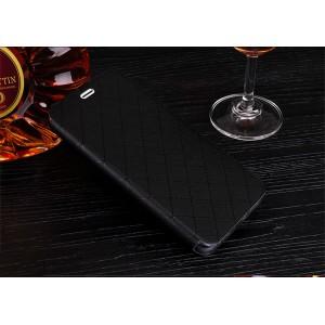 Чехол горизонтальная книжка подставка текстура Соты на силиконовой основе с отсеком для карт для Huawei Honor 8 Черный