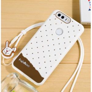 Силиконовый матовый непрозрачный дизайнерский фигурный чехол для Huawei Honor 8  Белый