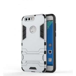 Противоударный двухкомпонентный силиконовый матовый непрозрачный чехол с поликарбонатными вставками экстрим защиты с встроенной ножкой-подставкой для Huawei Honor 8  Белый
