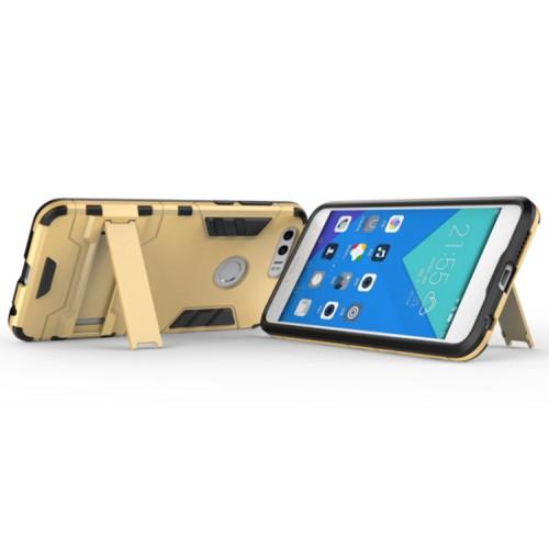 Противоударный двухкомпонентный силиконовый матовый непрозрачный чехол с поликарбонатными вставками экстрим защиты с встроенной ножкой-подставкой для Huawei Honor 8  Голубой
