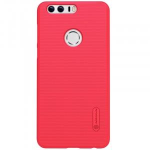 Пластиковый непрозрачный матовый нескользящий премиум чехол для Huawei Honor 8  Красный