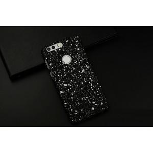 Пластиковый непрозрачный матовый чехол с голографическим принтом Звезды для Huawei Honor 8  Белый