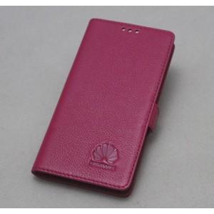 Кожаный чехол горизонтальная книжка подставка (премиум нат. кожа) с крепежной застежкой для Huawei Honor 8 Пурпурный