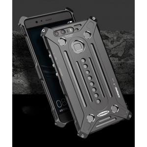 Цельнометаллический противоударный чехол из авиационного алюминия на винтах с мягкой внутренней защитной прослойкой для гаджета с прямым доступом к разъемам для Huawei Honor 8