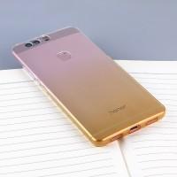 Силиконовый матовый полупрозрачный градиентный чехол для Huawei Honor 8 Желтый